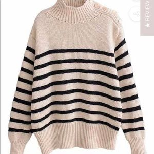 Black and cream striped sweater
